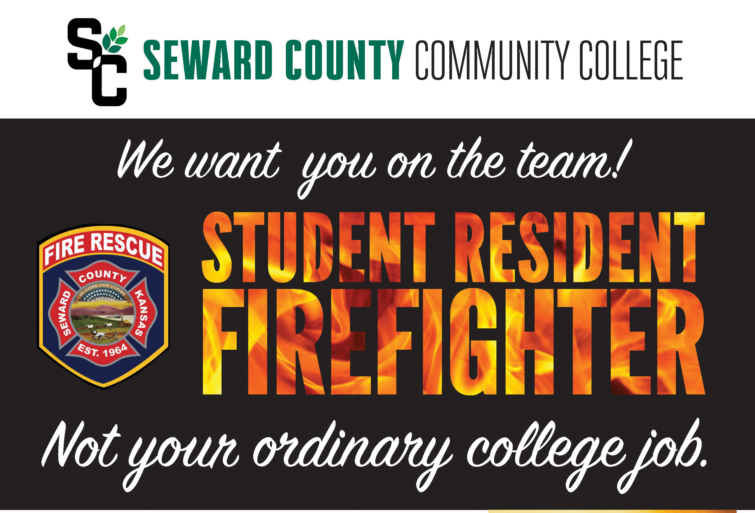resident firefighter program logo. 'we want you on the team! not your ordinary college job'